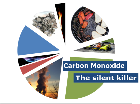 pie chart image with different images of carbon monoxide sources